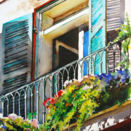 Watercolor by artist Ric Dentinger of New Orleans Balcony | Felder Gallery