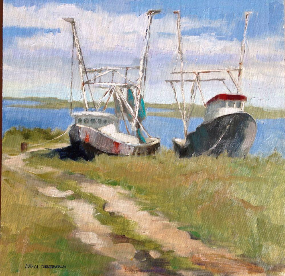 Painting of Gulf Coast shrimp boats by Texas artist Carol Williams Devereaux | Felder Gallery