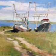 Painting of Gulf Coast shrimp boats by Texas artist Carol Williams Devereaux | Felder Gallery