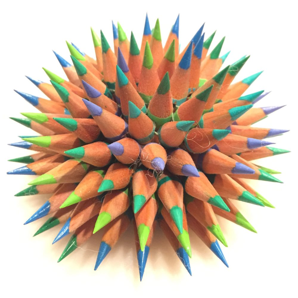 Jennifer Maestre colored pencil Sea Urchin sculpture | Felder Gallery