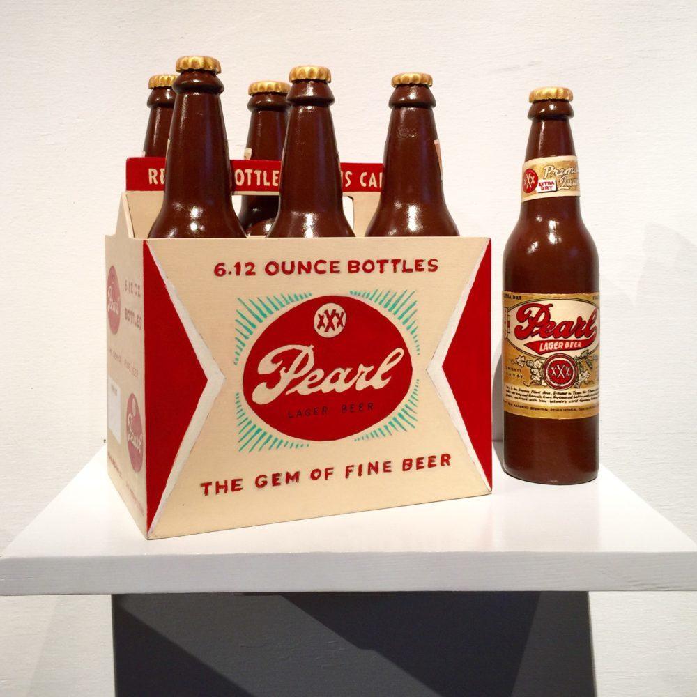 Rick Kroniger carved Wood Sculpture of Pearl Beer Six Pack | Felder Gallery