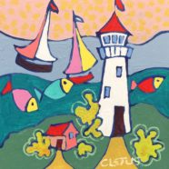 Boat and Lighthouse painting