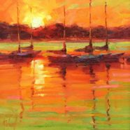 Plein air art by Dallas artist Christy Kidwell of a sunset on the Texas Coast | Felder Gallery
