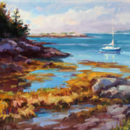 A painting by Christy Kidwell of a sailboat in a remote harbor in Maine | Felder Gallery