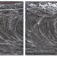 4 panel polyptych of a wave's topography by Lucky Kilgore | Felder Gallery