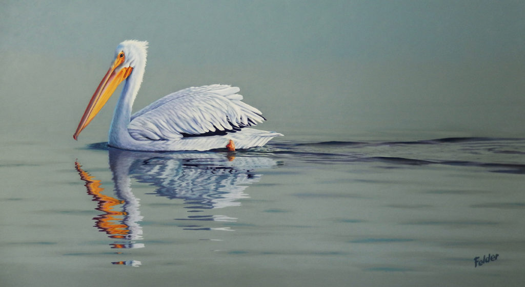 White Pelican Painting by Larry Felder