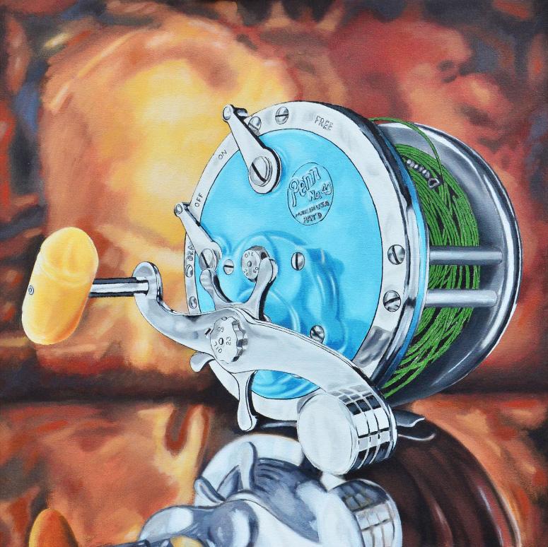 Painting by Rick Kroninger for his Rod and Reel series of old Penn reels | Felder Gallery