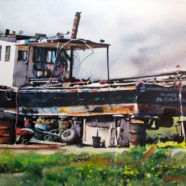 Ric Dentinger painting a boat in a boat yard on the gulf coast | Felder Gallery