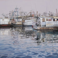 Larry Felder painting of oyster boats at Fulton Harbor near the old Casterline's | Felder Gallery
