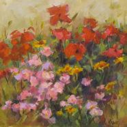 Original oil painting by Christy Kidwell of poppies and primrose flowers | Felder Gallery