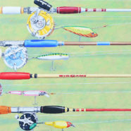 Original oil painting of Fishing Rods and Reels by Rick Kroninger | Felder Gallery