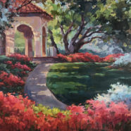Plein air painting of a gazebo near Highland Park in Dallas Texas by Christy Kidwell | Felder Gallery