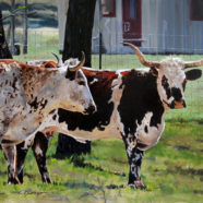 Western oil painting of longhorns by Ric Dentinger | Felder Gallery