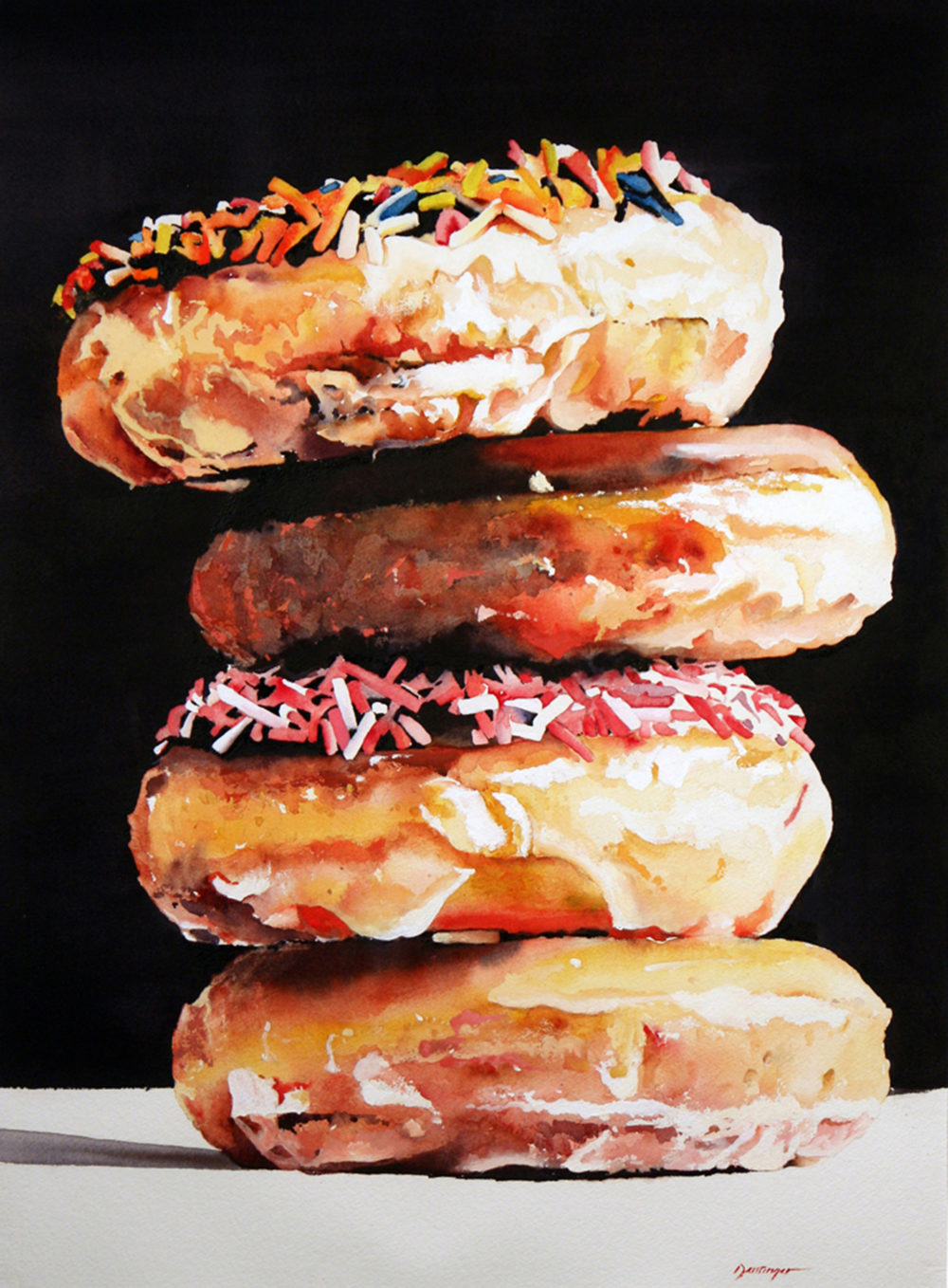 Watercolor painting of donuts by Ric Dentinger | Felder Gallery