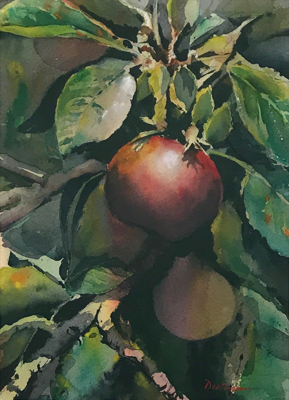 Apples on a vine painting by Ric Dentinger | Felder Gallery
