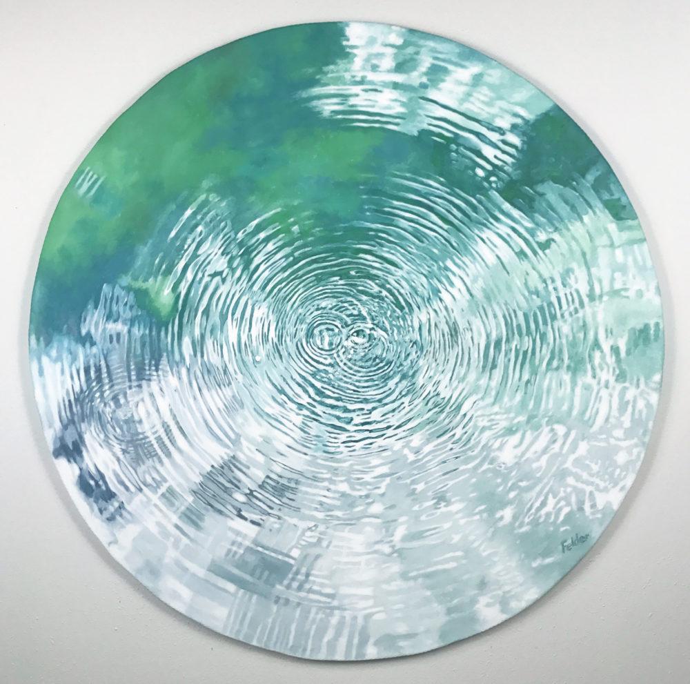 round painting of san pedro springs by larry felder | Felder Gallery