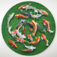 round painting of koi gardens in san antonio by larry felder | Felder Gallery