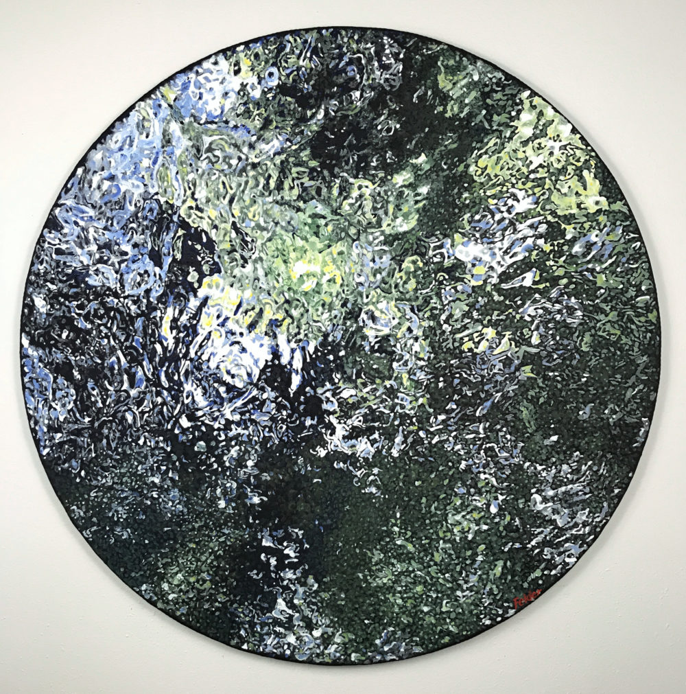 round painting of blue hole at university of the incarnate word by larry felder | Felder Gallery