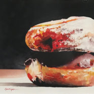 Watercolor painting of jelly filled donuts by Ric Dentinger | Felder Gallery