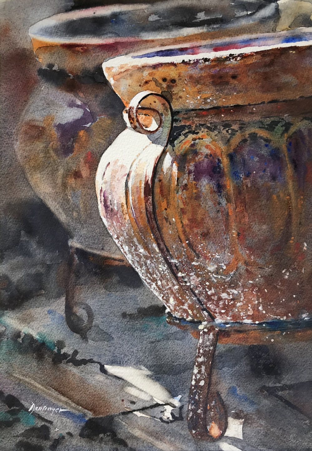watercolor of still life with pots by ric dentinger   Felder Gallery