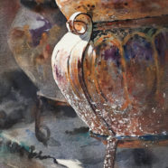 watercolor of still life with pots by ric dentinger | Felder Gallery