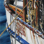 oil painting of old shrimp boat by ric dentinger | Felder Gallery