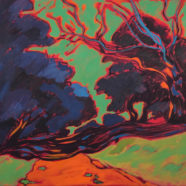 orange green and blue texas river landscape painting by Elizabeth Payne   Felder Gallery
