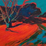 orange and blue texas river landscape painting by Elizabeth Payne | Felder Gallery