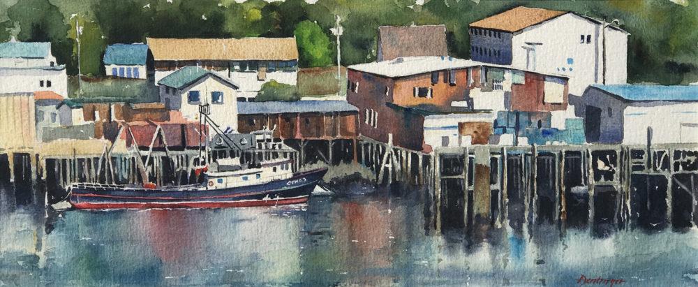 Alaskan Harbor watercolor by Ric Dentinger | Felder Gallery