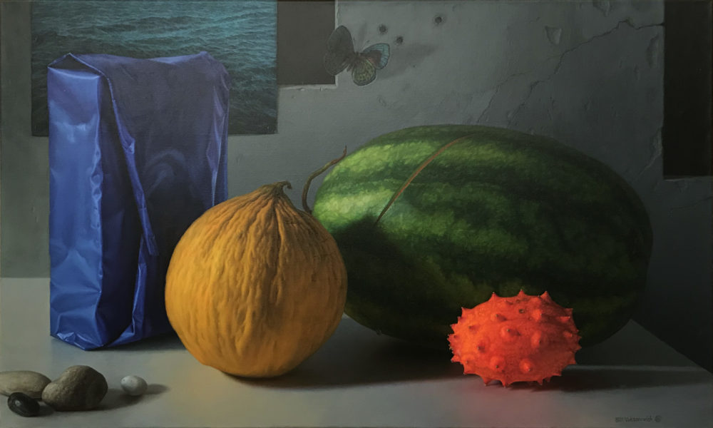 still life painting of melons by bill vuksanovich | Felder Gallery