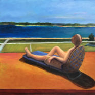 oil painting of figure lounging by carolyn young | Felder Gallery