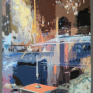 Reflections of a storefront window painting by Larry Felder | Felder Gallery