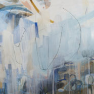 blue abstract mixed media painting by cat huss | Felder Gallery