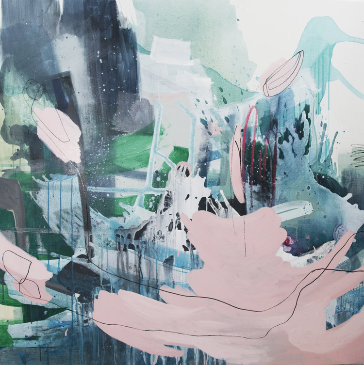 blue and pink abstract mixed media painting by cat huss | Felder Gallery