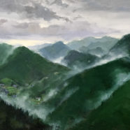 Painting from the mountains of Kumano Kodo Trail in Japan by carol devereaux | Felder Gallery