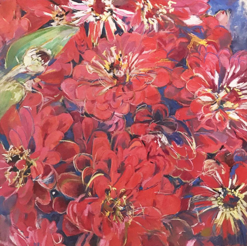 pastel drawing of red zinnia flowers by deb males | Felder Gallery