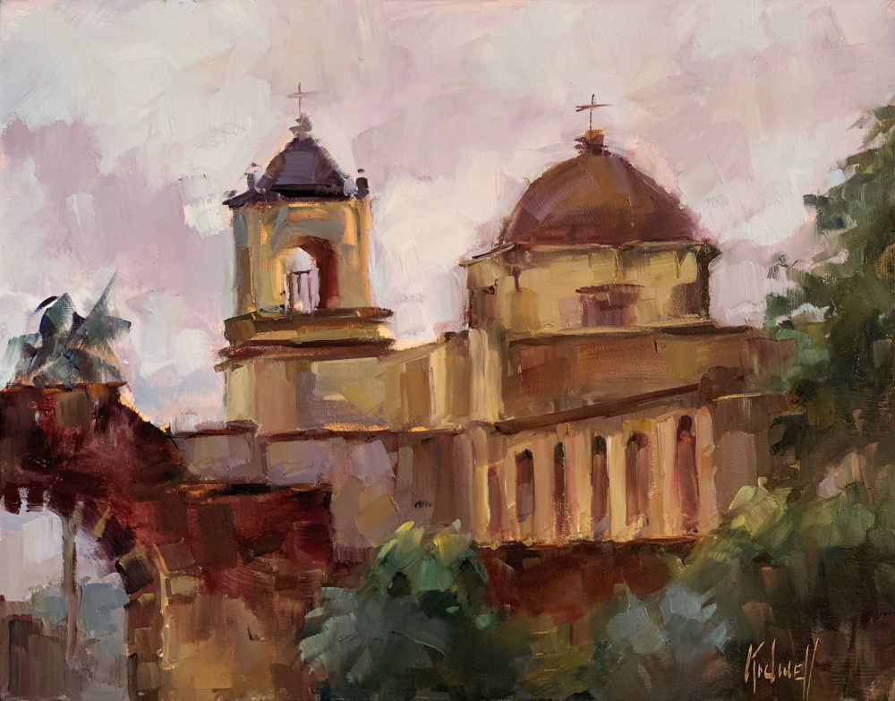 en plein air oil painting of san antonio mission by christy kidwell | Felder Gallery