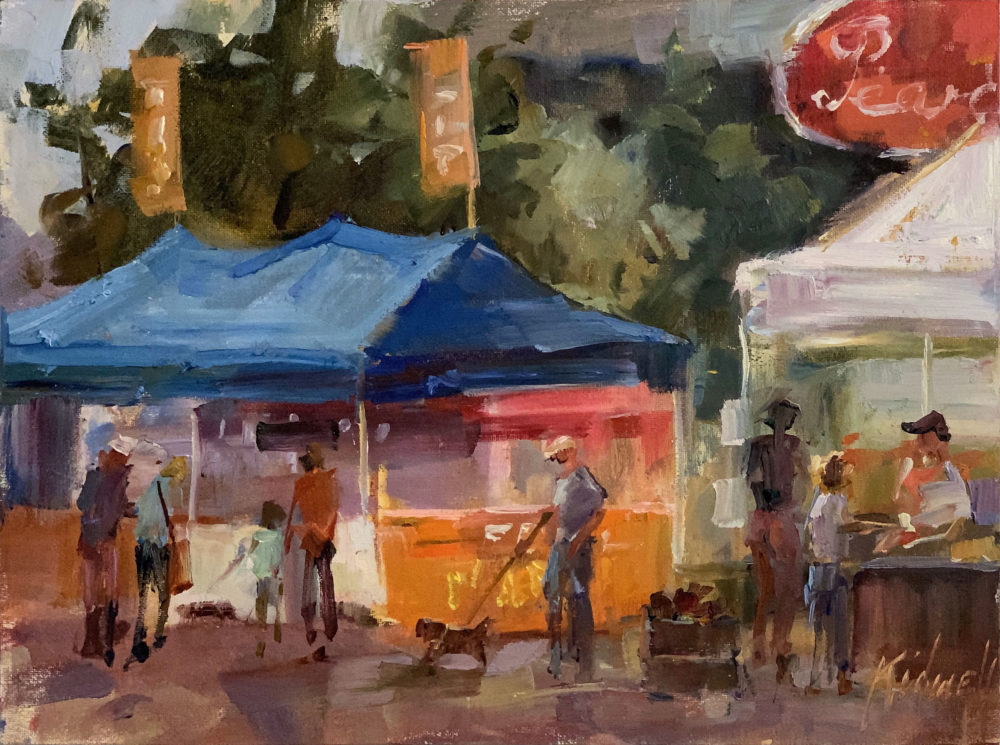 en plein air oil painting of pearl farmer's market by christy kidwell | Felder Gallery