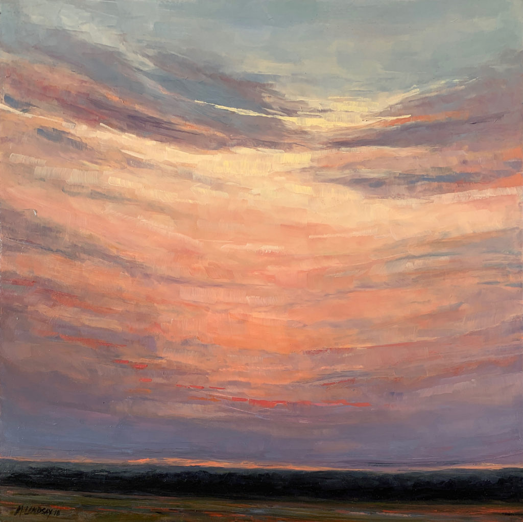 pink and lavender oil sunrise landscape by marjorie lindsay | Felder Gallery