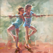 oil figure painting of ballerinas by christy kidwell | Felder Gallery