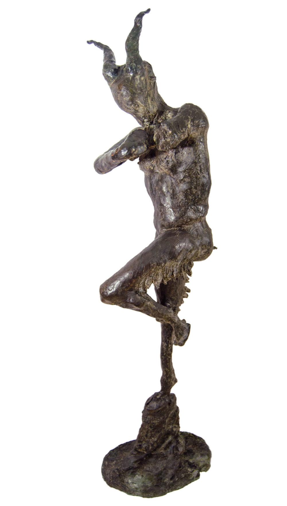 bronze sculpture of a faun by david spence | Felder Gallery