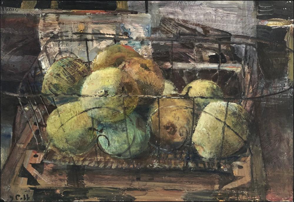 acrylic still life painting of pear by john cobb   Felder Gallery