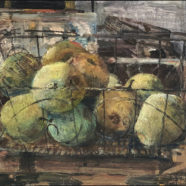 acrylic still life painting of pear by john cobb | Felder Gallery