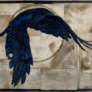crow ink painting drawing by tim mcmeans | Felder Gallery