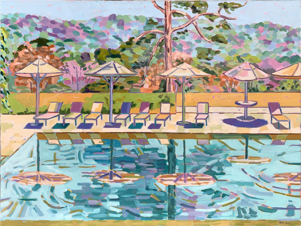 acrylic painting of poolside landscape by kitty dudics | Felder Gallery