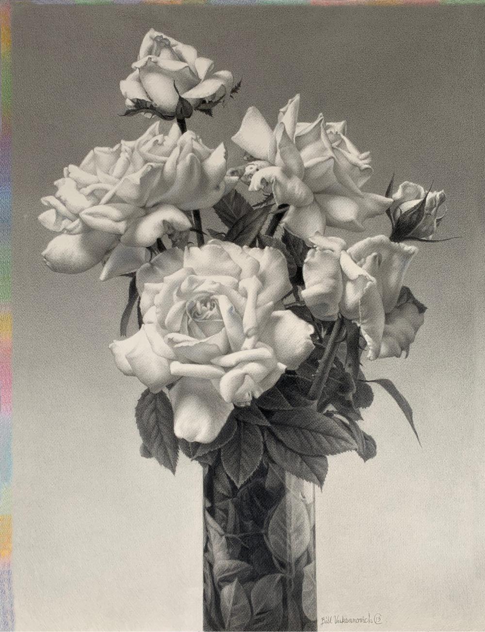 still life drawing of flowers by bill vuksanovich | Felder Gallery