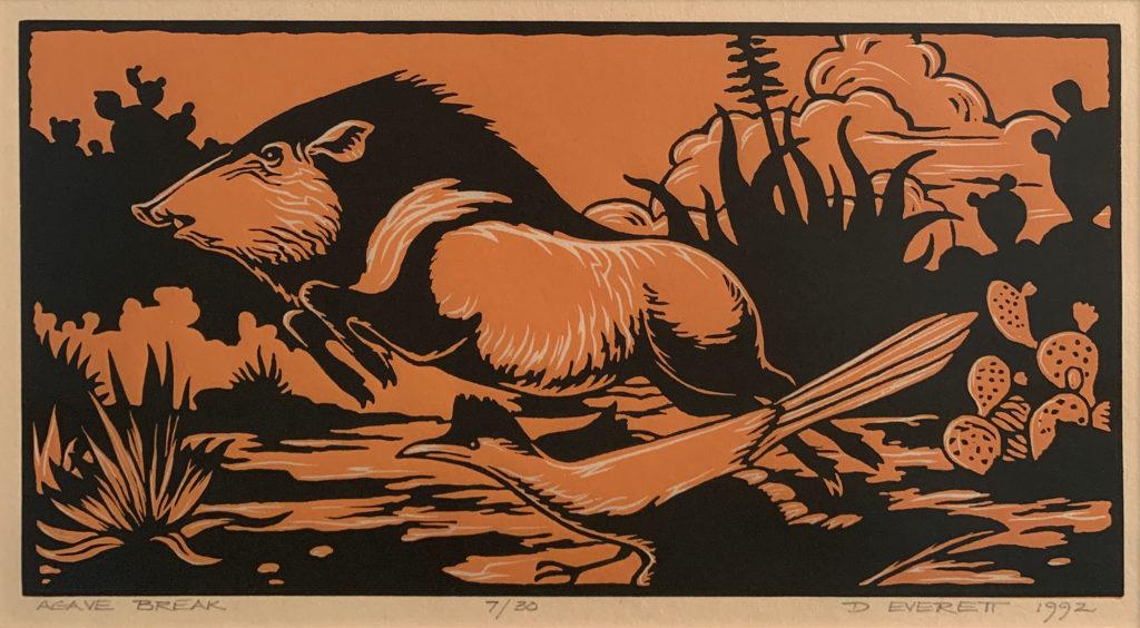 woodcut print of wildlife scene by david everett | Felder Gallery