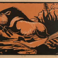 woodcut print of wildlife scene by david everett | Felder Gallery