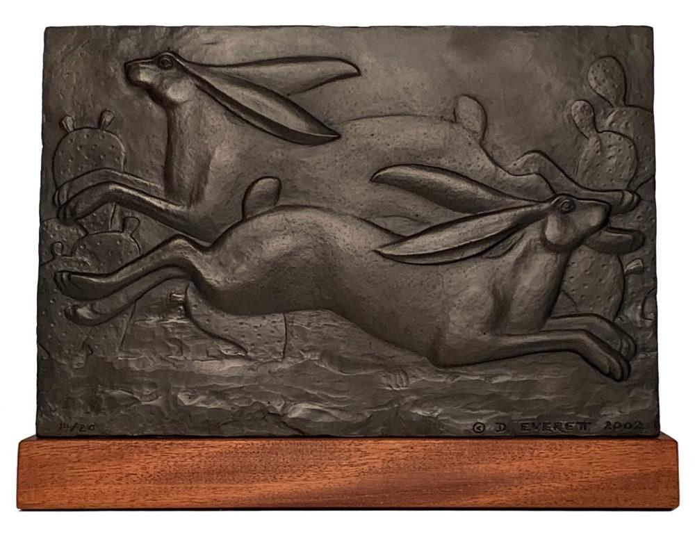 bronze sculpture of jackrabbits by david everett | Felder Gallery