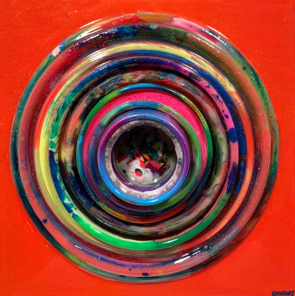 colorful mixed media bullseye by allison gregory   Felder Gallery